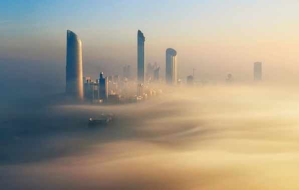 Картинка город, туман, утро, золотой, Дубай, Dubai, ОАЭ