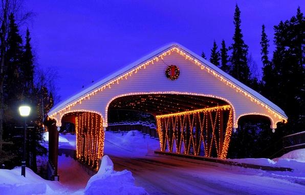 Картинка зима, дорога, лес, снег, мост, природа, lights, огни, парк, праздник, фонарь, украшение, forest, Happy New …