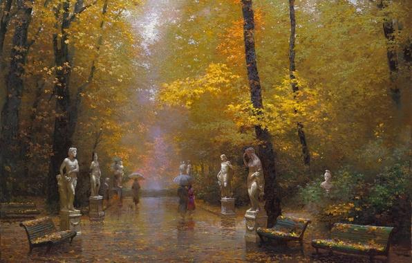 Картинка осень, деревья, пейзаж, парк, дождь, картина, арт, зонты, прогулка, листопад, скамейки, статуи, золотая, Виктор Низовцев