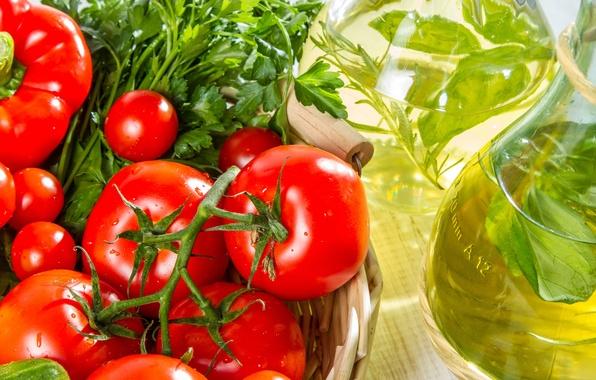 Картинка зелень, корзина, масло, овощи, помидоры, петрушка