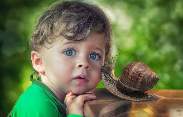 Картинка взгляд, улитка, мальчик, дружба, голубые глаза, друзья