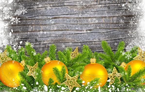 Картинка снежинки, ветки, шары, звёздочки, ёлка, ёлочные украшения