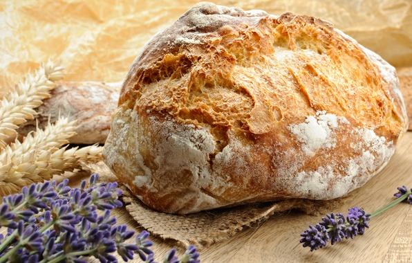 Картинка цветы, стол, еда, хлеб, выпечка, лаванда