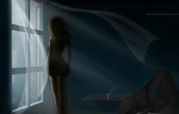 Картинка девушка, комната, ветер, волосы, спина, тень, кресло, окно, кружка, стоит, столик, ивопись