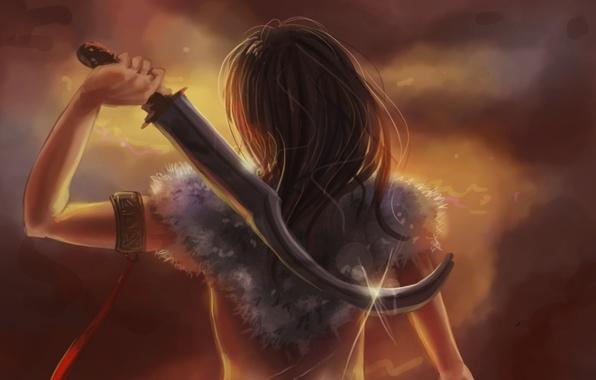 Картинка девушка, оружие, фон, фантастика, волосы, спина, рука, арт