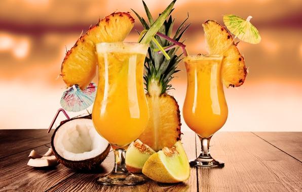 Картинка кокос, бокалы, фрукты, ананас, коктейли, трубочки, дыня, cocktails