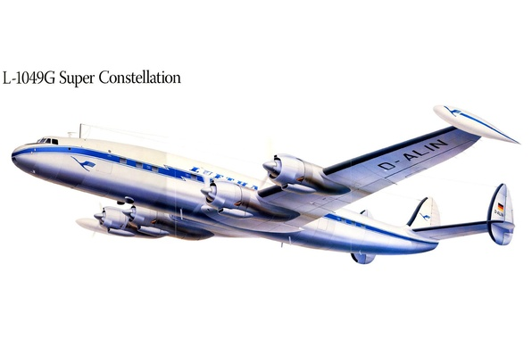 Картинка полет, самолет, рисунок, крылья, пропеллер, Super Constellation, L-1049