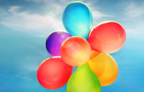 Картинка небо, шарики, праздник, голубое, цветные