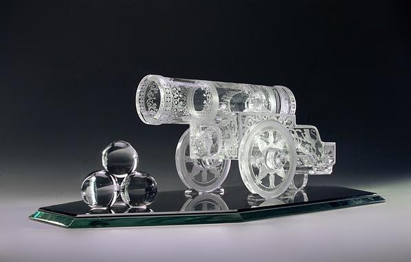 Картинка стекло, колесо, зеркало, хрусталь, пушка, гравировка, декор, ядра, Гусь-Хрустальный