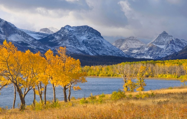 Картинка осень, лес, небо, трава, снег, деревья, горы, тучи, озеро