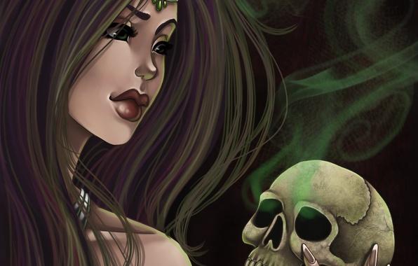 Картинка взгляд, девушка, лицо, волосы, дым, череп, рука, арт, губы, Amberly Berendson, Harpyqueen