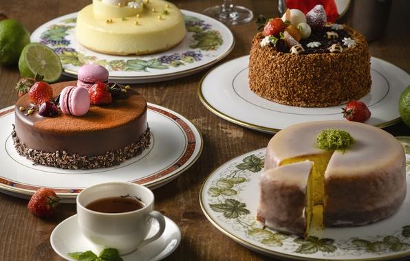 Картинка ягоды, чай, торт, крем, десерт, макарун