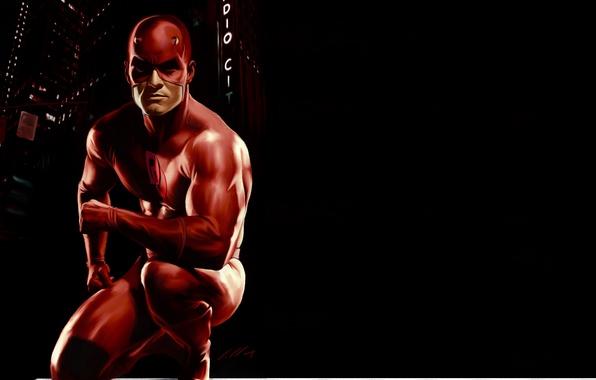 Картинка красный, маска, костюм, черный фон, Marvel Comics, Сорвиголова, Matt Murdock