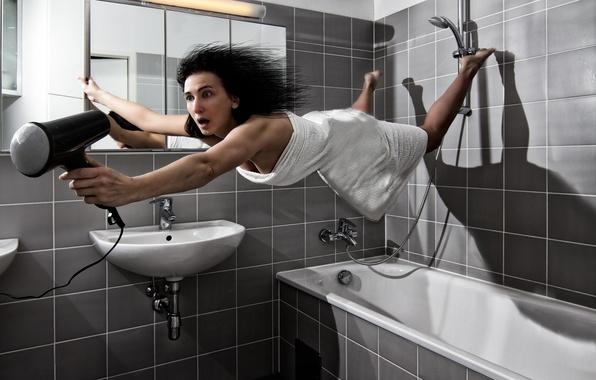 Картинка Brunette, Funny, Bath Room, Hair Dryer