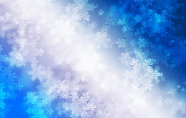 Картинка зима, снежинки, синий, сияние