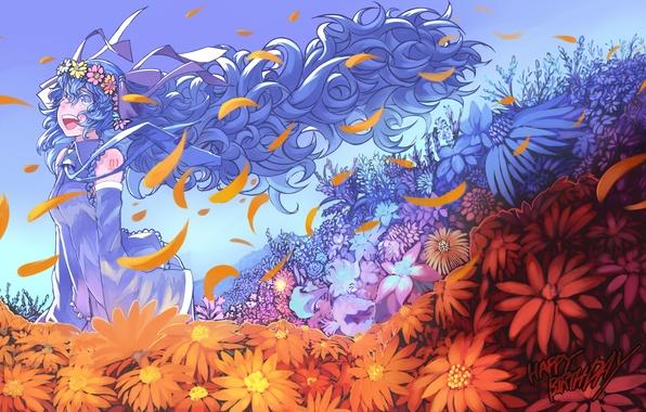 Картинка девушка, цветы, арт, Hatsune Miku, Vocaloid, Вокалоид