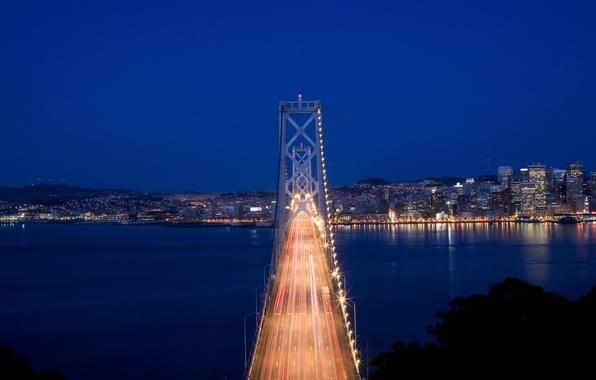 Картинка небо, ночь, мост, город, огни, пролив, движение, выдержка, освещение, Калифорния, Сан-Франциско, США, синее, траффик