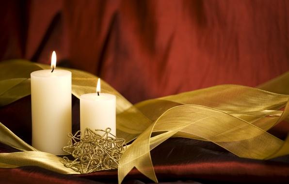 Картинка праздник, свечи, лента, Новый год, украшение