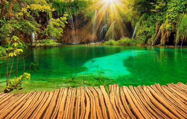 Картинка природа, озеро, парк, фото, водопады, лучи света, Хорватия, Plitvice