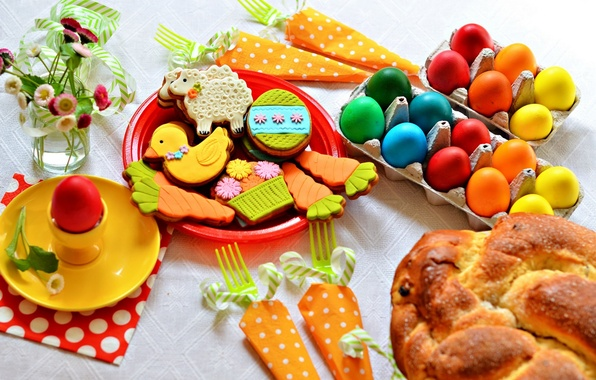 Фото обои цветы, праздник, яйца, печенье, пасха, кулич