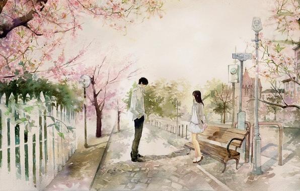 Фото обои девушка, скамейка, город, парк, сакура, арт, лавочка, парень, свидание, he he wu