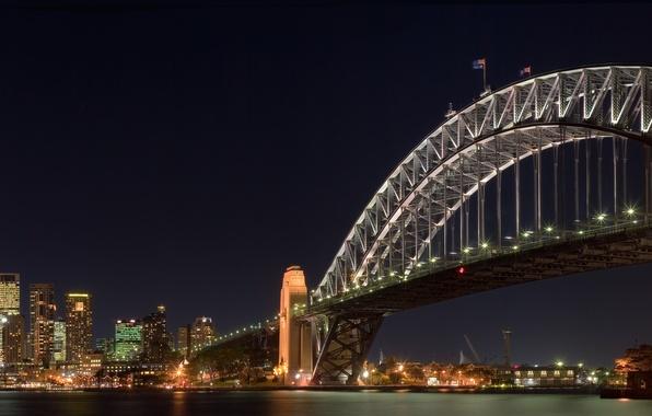 Картинка ночь, мост, огни, сидней, залив, австралия, bridge, harbour