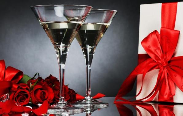 Картинка Цветы, букет, Розы, шампанское
