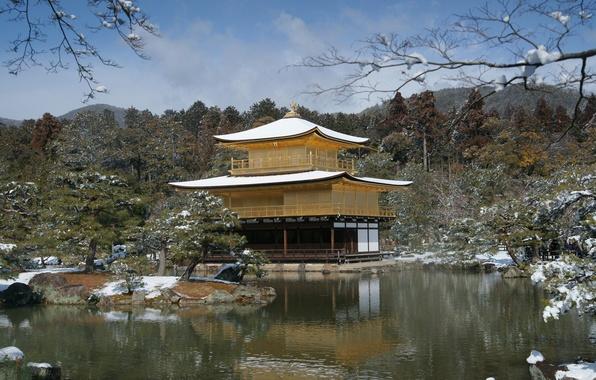 Картинка зима, снег, деревья, озеро, дом, япония, весна
