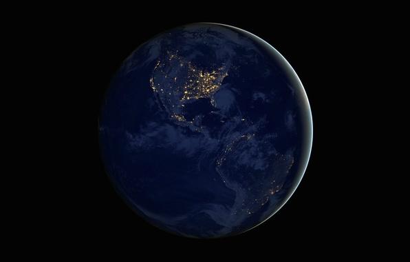 Картинка ночь, огни, планета, Земля, континенты