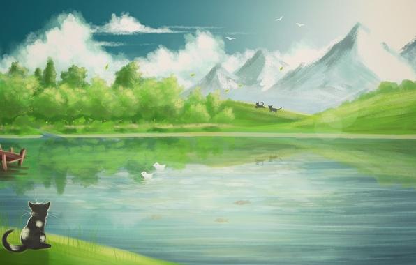 Картинка кот, облака, рыбки, горы, птицы, арт, нарисованный пейзаж