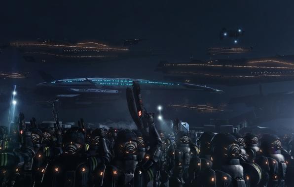 Картинка soldiers, war, art, mass effect 3, normandy, Cruiser, fan, space ship, Eve of War
