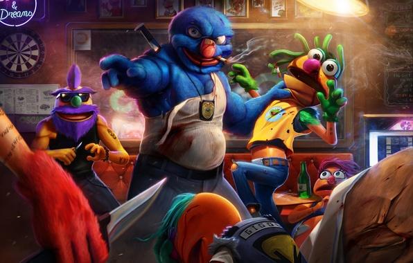 Картинка бар, драка, art, разборка, полицейский, Grover, THE STREETS, Muppet