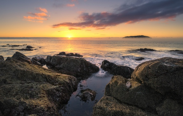 Картинка солнце, камни, океан, рассвет, утро, Новая Зеландия, горизонт, Waikato, Tairua