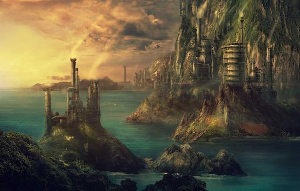 Картинка море, пейзаж, город, здания, фэнтези, арт, стимпанк, fantasy, art, Pulpoglow, Technopolis, Технополис