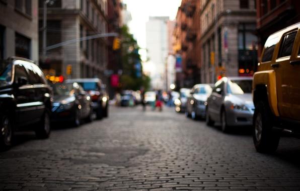 Картинка дорога, машины, city, город, улица, здания, размытость, street, bokeh