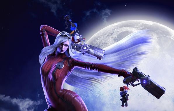 Картинка девушка, ночь, луна, пистолеты, ведьма, полнолуние, Platinum Games, Bayonetta, Umbra Witch, Jeanne, All 4 One