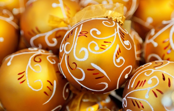 Картинка шары, узоры, игрушки, Новый Год, Рождество, белые, золотые, праздники, елочные