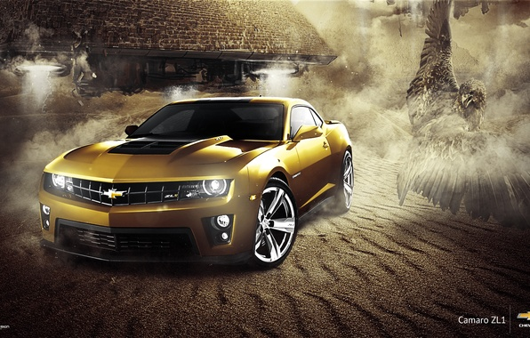 Картинка Chevrolet, Muscle, Camaro, Eagle, Car, ZL1, Gold