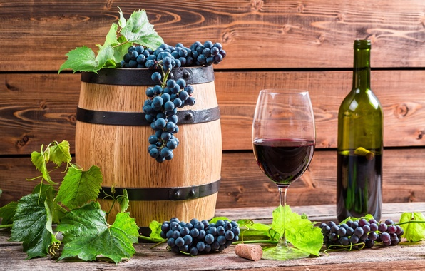 Картинка листья, вино, красное, бокал, бутылка, виноград, лоза, бочонок
