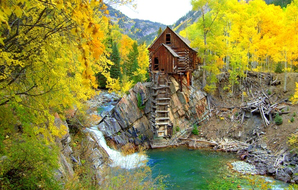 Картинка осень, лес, деревья, горы, река, камни, скалы, сша, Colorado, Crystal Mill