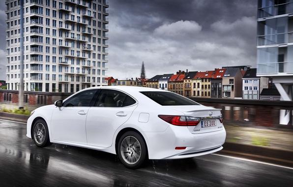 Картинка дорога, белый, город, движение, Lexus, автомобиль, ES 200