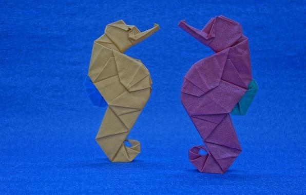 Картинка бумага, фон, оригами, морские коньки