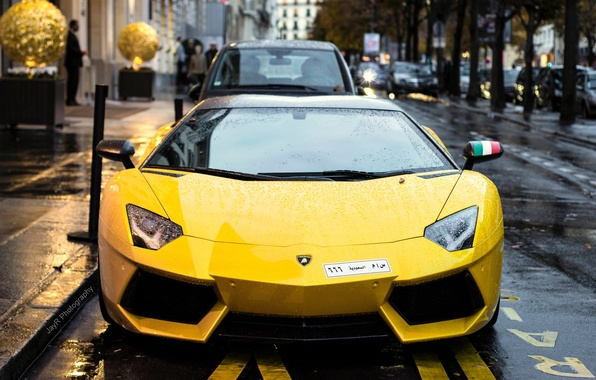 Картинка Lamborghini, Paris, France, V12, Yellow, LP700-4, Aventador, Supercar