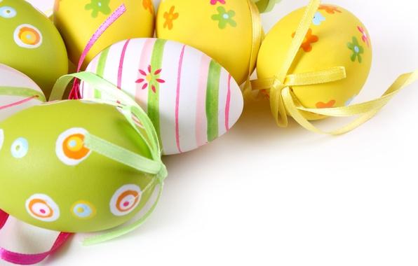 Картинка праздник, узор, яйца, пасха, разноцветные, бантик