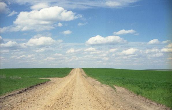 Картинка дорога, небо, трава, облака, поля, горизонт, сельская местность, солнечный, фермы