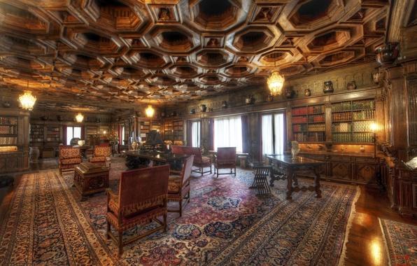 Картинка стол, лампы, комната, книги, стулья, библиотека, антиквариат