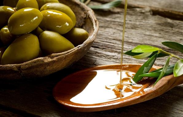 Картинка листья, стол, масло, ветка, оливка, плошка, лопаточка