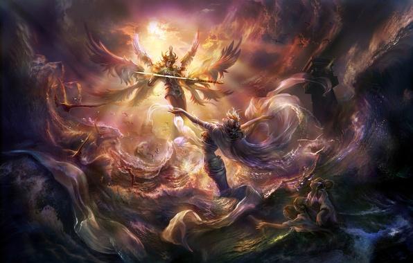 Картинка море, птицы, шторм, девушки, крылья, ангел, меч, арт, парень, rong rong, wang