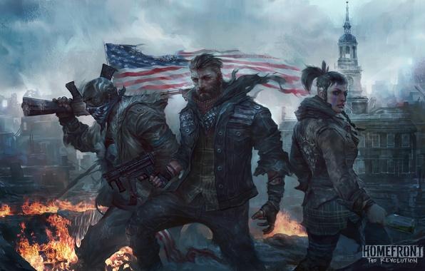 Картинка оружие, женщина, флаг, арт, мужчина, руины, трио, революция, Homefront: The Revolution