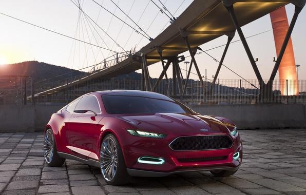 Картинка закат, красный, мост, фары, concept, концепт, ford, форд, передок, эвос, evos
